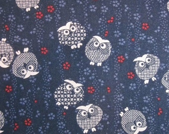 Japanese cotton print - 1/2 yard of navy dotty Owls