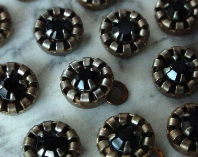 15 Vintage Swarovski Crystal Jet Black Rhinestone Bare Raw Brass Charm Drop 1 Ring 6mm Round Crown Bezel Set 24pp Chaton Stone Patina A20