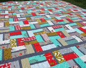 Modern Whimsical Little Apples Quilt - Twin Size - Boy Quilt or Girl Quilt - Green Aqua White Red