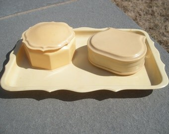 3 Piece Vintage Antique French Ivory Octagonal Celluloid Trinket Box – Vanity Tray – Jewelry Box