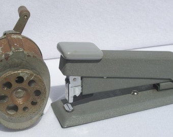 Vintage Office Tools Desk Top Boston Pencil Sharpener and Bostitch Stapler
