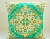 green lime cream flower tile decorative pillow cover 16 inch