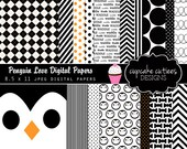 Penguin Love DIgital Paper Pack 8.5 by 11 Papers Set of 15 Digital Papers- Instant Download