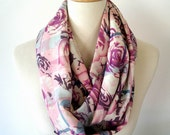 Rose Print Fabric Infinity Scarf Radiant Orchid on Ivory Cream