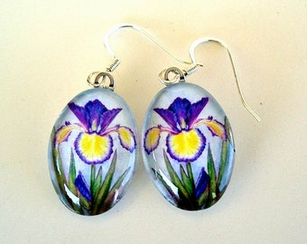 Iris Jewelry Yellow and Blue Violet Spuria Adriatic Blue Oval Art Glass Earrings