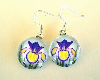 Yellow and Blue Violet Spuria Iris Jewelry Round Art Glass Earrings