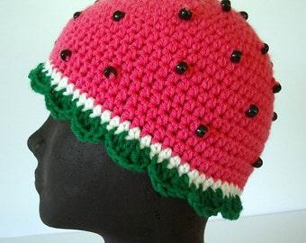 Watermelon Crochet Hat Pink Green Scallop Edge Childrens  Size