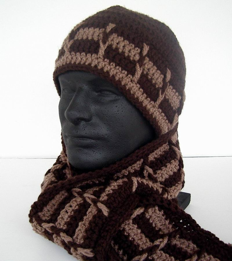 Crochet Pattern Hat Scarf Combo : Mens Unisex Scarf Hat Combo Set Chocolate Brown by ...