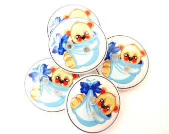 """5 SMALL Teddy Bear in Blue Blanket Buttons.  5/8"""" or 15 mm handmade buttons.  Children's Sewing Buttons."""