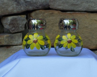 Hand Painted Glass Salt and Pepper Shakers with Yellow Daisies