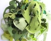 Green Felt Scraps, Wool Felt Remants, Green Felt Assortment