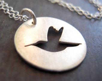 Hummingbird necklace, Ready-To-Ship! Tiny silver hummingbird necklace *SHINY finish* hand-cut sterling silver bird necklace.