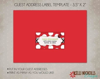 Ladybug Guest Address Label, Personalized Ladybug Birthday Address Sticker Template, Instant Download #B111