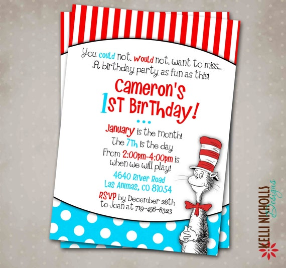 Cat In The Hat Birthday Invitations for your inspiration to make invitation template look beautiful
