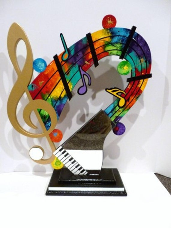 New Music Clef note Mirrored Piano abstract Table Top Sculpture