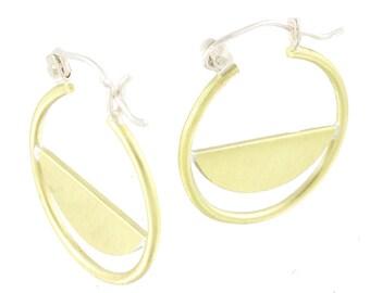 Mod Brass Hoop Half Slice Hinge Earrings