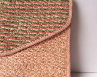 Vintage Straw Bag Envelope Clutch Oversized Rose Woven SALE