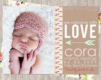 Kraft & Pink Birth Announcement - baby girl birth announcement - arrow - welcome with love - printed or printable