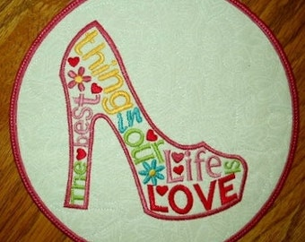 The Best Thing In Our Life Is Love Applique Mug Rug