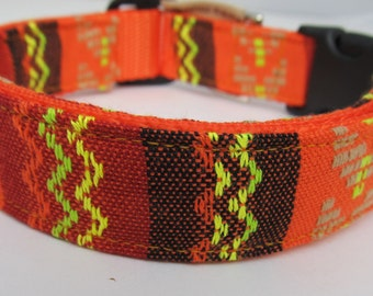 Tequila Sunrise Guatemalan Style Dog Collar Colorful Orange Woven Collar Unisex You Pick Size Made in USA