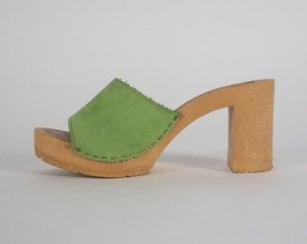 vintage 70s suede mules / bohemian wooden sole pumps / chartreuse slides minimalist