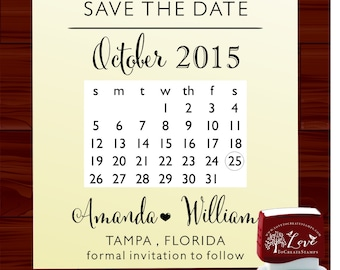 SAVE THE DATE  Self- Inking  Stamp - style 6061 custom wedding stationary