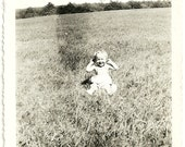 Vintage Child Photograph Mary Lou 9 Mo Old Laughing Baby Holds Ears 1930s Snapshot Photo