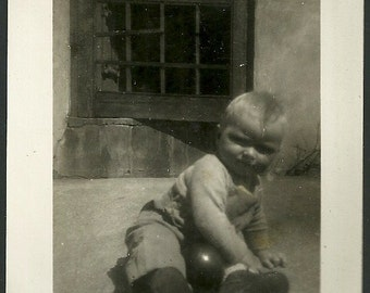 Vintage Photograph Chunky Little Boy In Coveralls With Toy Ball Antique Snapshot Photo