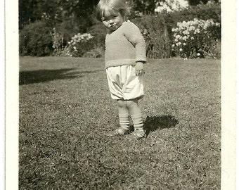 Vintage Child Photo Little Bruiser With Pout Antique Snapshot Photograph