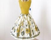 vintage 1950's dress ...nwt never worn PARKLAND DALLAS cotton floral slubbed bodice full skirt party dress with original belt m l