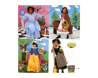 Girls Storybook  Fairy Tale Costumes Pattern Cinderella Snow White Red Riding Hood Peasant Blouse Dirndl Skirt Simplicity 8356 3 4 5 6 7 8