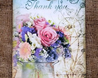 Thank You Fresh Flower Bouquet Gift or Scrapbook Tags or Magnet #206