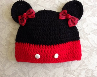 "Hat - ""Minnie"" Inspired Hat with Mouse Ears"