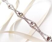Rhinestone Ribbon Bridal Headband - White or Ivory Satin - Silver and Crystal - Wedding Headband