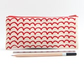 Organic Cotton Red Wave Pencil Case, Valentine's Gift for boyfriends, Small Gift for Him.