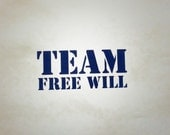 Supernatural Inspired Team Free Will Precision Die Cut Vinyl Car Window Decal Sticker for fans of the TV show