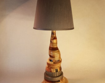 One-of-a-Kind Hardwood and Steel Lamp
