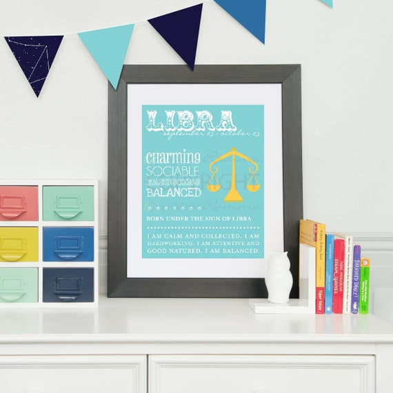 LIBRA Zodiac Nursery / Kids Room Giclée Art Print // N-Z04-1PS AA1
