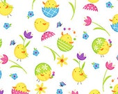 Easter Fabric Just Hatched Easter Chicks Print in White 1/2 Yard