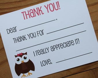 Owl Fill in the Blank Thank You Cards | Kids Thank You Cards | Kids Stationery | Set of 10 with envelopes