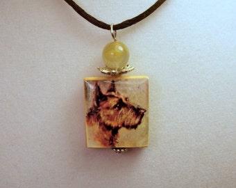 Scottie Dog - Scottish Terrier Necklace / Scrabble Pendant / Charm / Unusual Gifts / Jewelry Vintage Art