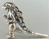 Godzilla Necklace Silver Godzilla Charm Godzilla Pendant Godzilla Sculpture Godzilla Miniature Godzilla Stuff Monster Necklace Lizard Charm