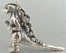 Godzilla Necklace Silver - Godzilla Charm Godzilla Pendant - Godzilla Sculpture Godzilla Miniature -  Godzilla Stuff