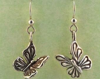 Butterfly Earrings Silver - Butterfly Earrings - Butterfly Jewelry Insect Jewelry - Silver Butterfly