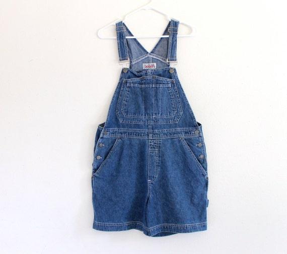 90s Bill Blass Cotton Punk Grunge Slouch Blue Denim Jeans Overalls Shorts Jumper . M . D201 . 679.1.12.14
