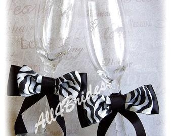 Zebra Wedding Champagne Glasses - Zebra Wedding Black and White Wedding Decorations.