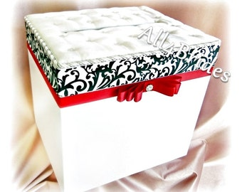 Wedding Card Box, Damask Wedding Card Box, Damask and Red or Custom Colors
