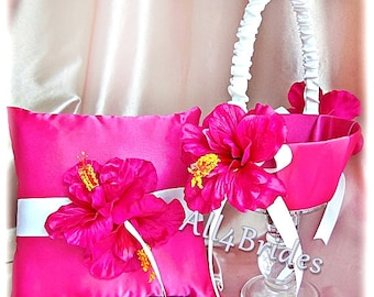 Hot Pink Hibiscus Wedding ring bearer pillow and flower girl basket, spring - summer wedding accessories