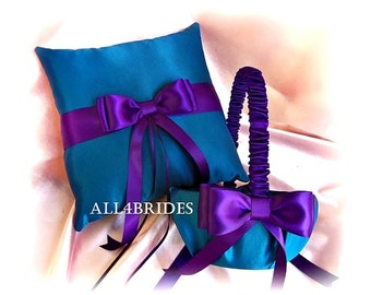 Flower girl basket and ring bearer pillow Teal Blue and Purple weddings ceremony decor