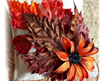 Burlap wedding pillow, chocolate brown burnt, orange and persimmon Fall leaves rustic ring bearer pillow
